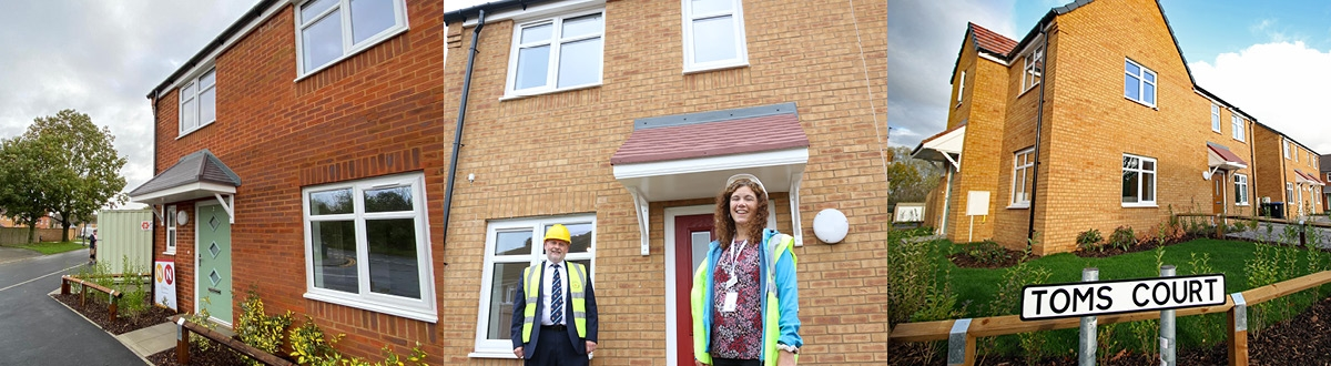 Three photos. First of a house on Toms Close, second of Toms Court sign with homes in background and third of of two people outside a new home